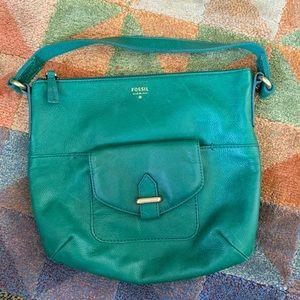 Gorgeous green soft leather Fossil handbag